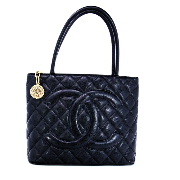 CHANEL Handbags - Chanel Black Caviar Leather Quilted Medallion Tote